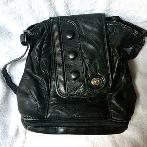 Ladies Leather Patchwork purse with vinyl trim